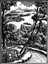 wood-engraving original print: The River Mole for London General Omnibus Company ad